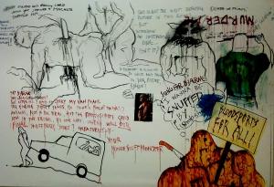 Kunst eller et skrik om hjelp? Er det noe forskjell i 2013? Hva jeg vet er at det ikke er pent å se på og det sier meg ingenting annet enn at Bjarne Melgaard er en pervers byorginal uten vidre talenter i male og tegne avdelingen. Korrektur kan jeg ikke utale meg om.